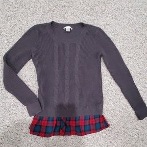 Grey With Plaid Knitted Maternity Sweater